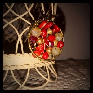 Red & white beaded necklace